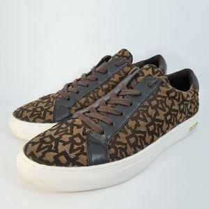 DKNY Mens Brown Patterned Sneakers Size US 10